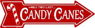 Candy Canes Arrow Sign