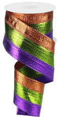 "2.5"" Tri-Stripe Metallic Ribbon: Purple/Lime Green/Copper - 10Yds"