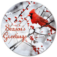"12"" Metal Season's Greetings Cardinal Sign"