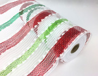 "10"" Snowball Deco Mesh: Red/Grn/White Stripe (10 Yards)"