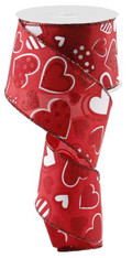 "2.5"" Patterned Hearts Ribbon: Red/Wht - 10Yds"