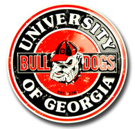 University of Georgia Bulldogs Embossed Metal Circular Sign