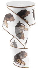 "2.5"" Horse Head Print Ribbon: White - 10Yds"