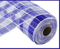 "10"" Deco Poly Mesh: Metallic Check Blue/White"