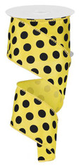 "2.5"" Satin Polka Dot Ribbon: Yellow/Black"
