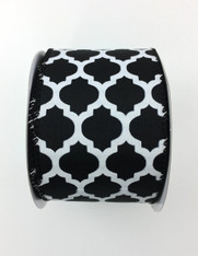 "2.5"" x 10yd Satin Quatrefoil Ribbon: Black/White"