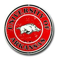Arkansas Razorbacks Embossed Metal Circular Sign