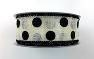 "1.5"" x 10yd Canvas Polka Dot Ribbon: Ivory/Black"