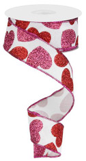 "1.5"" Glittered Heart Ribbon: White/Pink/Red - 10Yds"
