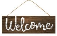 "15"" Rustic Welcome Sign: Dark/White"