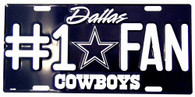 Dallas Cowboys #1 Fan NFL Embossed Metal License Plate