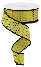 "1.5"" Raised Swiss Dot Ribbon: Yellow/Black - 10yd"