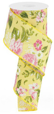 "2.5"" Spring Floral Ribbon: Yellow- 10Yds"