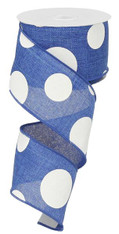 "2.5"" x 10yd Linen Giant Dot Ribbon: Royal Blue/White"