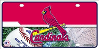 St Louis Cardinals Half and Half Metal License Plate