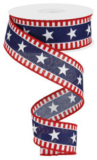 "1.5"" Bold Star/Stripe Ribbon: Red/Wht/Blue - 10Yds"