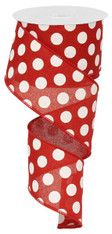 "2.5"" x 10yd Linen Polka Dot Ribbon: Red/White"