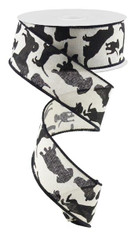 "Assorted Dogs Ribbon: Cream/Black - 1.5"" X 10Yds"