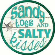 "12"" Circular Sandy Toes & Salty Kisses Sign"