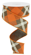 "1.5"" Diagonal Plaid Ribbon: Brown/Orange/Cream - 10yds"