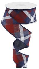 "1.5"" Diagonal Plaid Ribbon: Navy Blue/Red/Wht - 10yds"