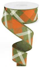 "1.5"" Diagonal Plaid Ribbon: Fern Grn/Orange/Cream - 10yds"