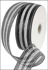 "Black/White Stripe Deco Mesh Ribbon - 2.5"" X 25Yds"