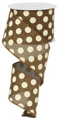 "2.5"" x 10yd Linen Polka Dot Ribbon: Brown/Ivory"