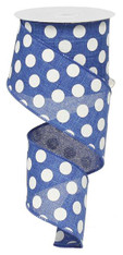 "2.5"" x 10yd Linen Polka Dot Ribbon: Royal Blue/White"