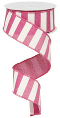 "1.5"" x 10yd Horizontal Stripe Ribbon: Fuchsia/White"