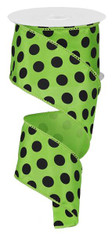 "2.5"" Satin Polka Dot Ribbon: Lime Green/Black"