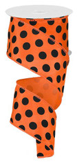 "2.5"" Satin Polka Dot Ribbon: Orange/Black"