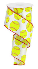 "2.5"" Softball Print Ribbon - 10Yd"