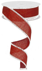 "1.5"" Rough Stitch Edge Ribbon: Dark Red/White - 10Yd"