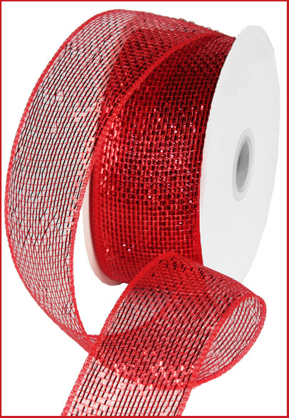 "Metallic Red w/ Red Foil Deco Mesh - 2.5"" X 25Yds (RS200424)"