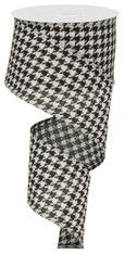 "2.5"" Blk/Wht Large Houndstooth Ribbon - 10Yds"