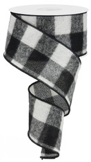 "2.5"" Fuzzy Large Check Ribbon: Black/White - 10Yds (Buffalo Plaid)"