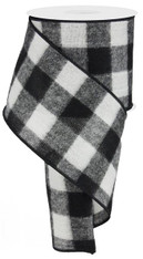 "4"" Fuzzy Large Check Ribbon: Black/White - 10Yds (Buffalo Plaid)"