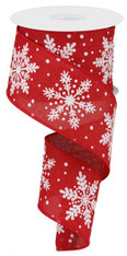"2.5"" Linen Glitter Snowflake Ribbon: Red/White - 10 yards"