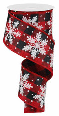 "2.5"" Linen Glitter Snowflake Ribbon: Red/Black Check - 10 yards"