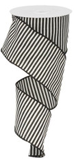 "2.5"" Horizontal Stripe Ribbon: Black and White - 10Yds"