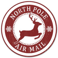 "12"" North Pole Air Mail Metal Sign"
