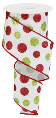 "2.5"" Multi Glitter Dot Ribbon: Wht/Red/Green - 10Yds"