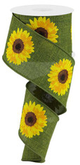 "2.5"" Bold Sunflower Ribbon: Moss Green - 10Yds"