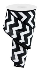 "2.5"" Black/White Chevron Ribbon - 10Yds"