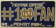Notre Dame #1 Fan Fighting Irish Embossed Metal License Plate