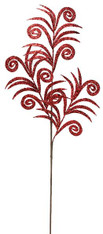 "35"" Glittered Swirl Palm Spray: Red"