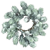 "11"" Flocked Pine Wreath/Candle Ring"