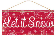 "12"" Tin Let it Snow Sign: Red"