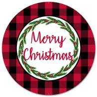 "12"" Metal Buffalo Plaid Merry Christmas Sign"